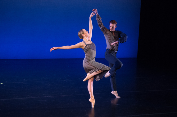 Elena Zahlmann and Michael Wells in Richard Alston's Such Longing for New York Theatre Ballet at New York Live Arts (Photo by Rachel Neville)